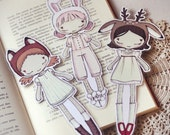 Three Cute Friends set of bookmarks - made to order