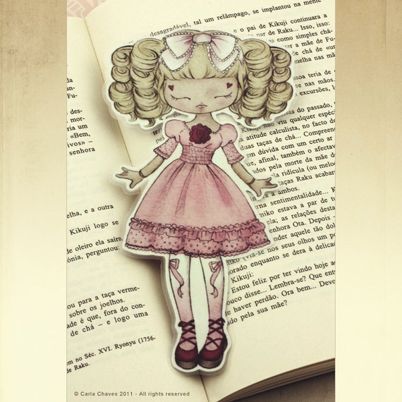 Lolita Loves Roses - bookmark - made to order