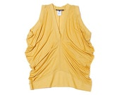 Summer  drape top /sleeveless shirt  in  organic  rayon fabric/ ochre yellow colour