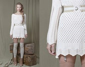 Lace dress tunic  with belt   in  cream cotton knit S