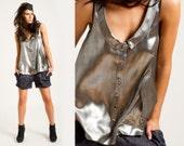Metallic silk  top /Silver fashion  /sleeveless shirt  in 100%  silk