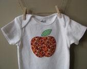 Apple applique baby onesie/bodysuit, 6 months