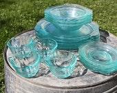 Beautiful 16-Piece Blue Depression Glass Set