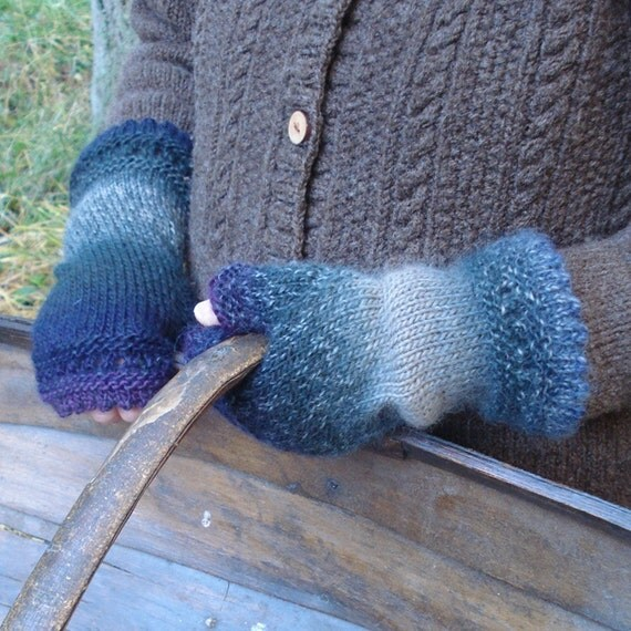 FIngerless mittens - lace hand warmers in blue and purple