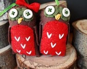 RESERVED for Kristin - Set of Owl Ornaments