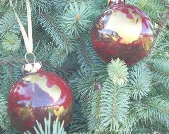4 Glass Ornaments - Christmas Balls - Handcrafted - Red Brown Gold - Add a Monogram, SALE - Was 20 dollars