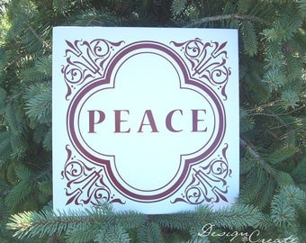 PEACE Wood Sign - You Choose Colors, Custom Made - Christmas Sign, peace sign