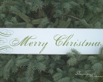 MERRY CHRISTMAS Wood Sign - You Choose Colors, Custom Made - Christmas Sign swirls, Rustic Shabby Chic