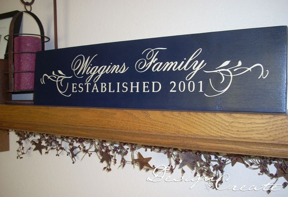 FAMILY ESTABLISHED Sign - Wedding Gift, personalized custom signs, family name, family sign