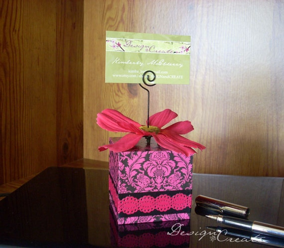 Photo Block Wire Holder - DAMASK ME PINK - Black White Pink Elegant - for photos, business cards and recipes