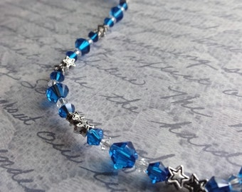 Blue Crystal and Silver Stars Beaded Bracelet