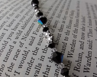 Black Crystal and Silver Stars Beaded Bracelet