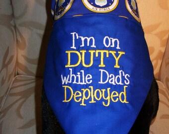 I'm on DUTY While Dad's Deployed, US Air Force Dog Reversible Bandana, XLarge