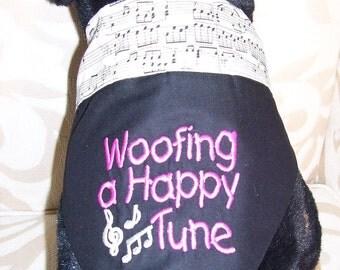 Woofing a Happy Tune,  Dog Reversible Bandana, Large