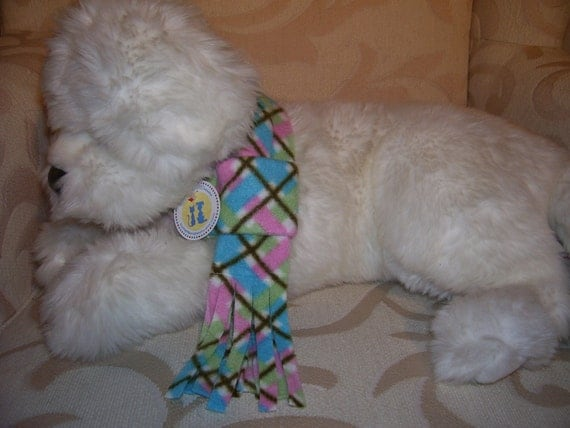 Dog Fleece Scarf in Pink/Blue/Green Plaid with Fringe, X-Large