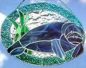 "Stained Glass Suncatcher, Nautical Manatee -Tropical Home Decor - Glass Manatee -Tropical Suncatcher - Manatee Suncatcher - 10"" x 12"" - 9534"