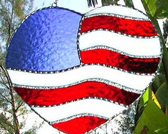 Stained Glass Suncatcher, American Flag Design, Glass Sun-Catcher, Decorative Sun Catcher, Patriotic, Stained Glass Gift, Military, 9503