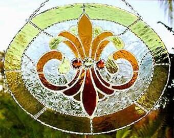 Stained Glass Suncatcher in Gold - Glass Nuggets - Decorative Solder Work - Glass Sun Catcher - 9560-GL