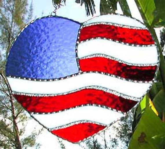 Stained Glass Suncatcher - American Flag Design - Glass Sun-Catcher - Decorative Sun Catcher Home Decor -  9503