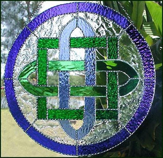 Irish Stained Glass Suncatcher Blue & Green Celtic Knot