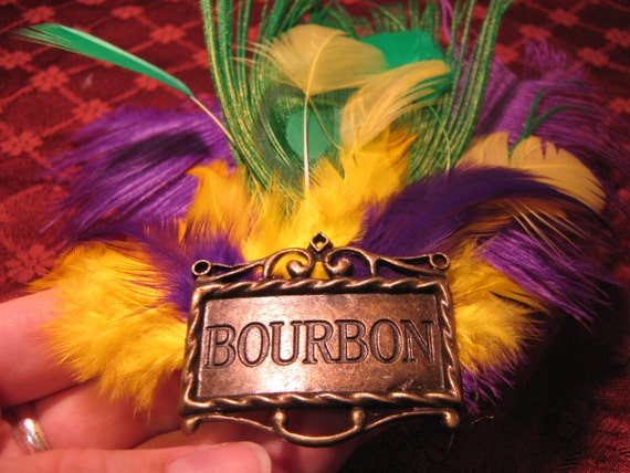 Bourbon Mardi Gras Feather Fascinator - Purple, Yellow, Green