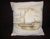 Erie Canal Schooner - CUSTOM Handpainted Cotton Canvas Pillow