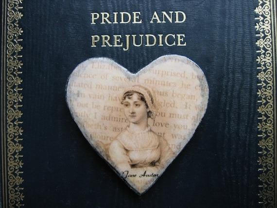 Jane Austen Heart brooch, Pride and Prejudice quote, hand cast paper