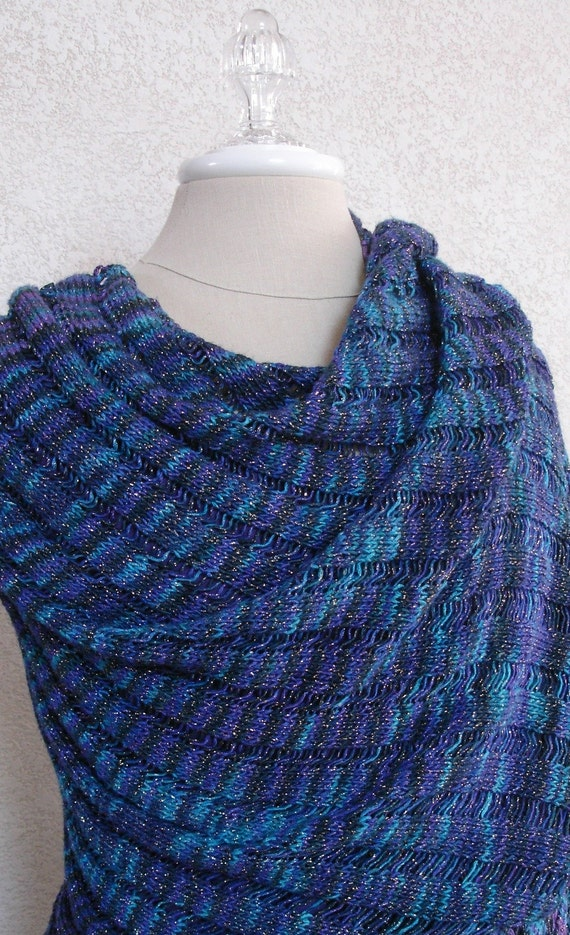 Knit Drop Stitch Shawl Pattern : Hand Knit Blue Heron Clapotis Drop Stitch Shawl Wrap