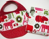 REVERSIBLE festive holiday/christmas animals QUILTED baby bib and burp cloth GIFT SET