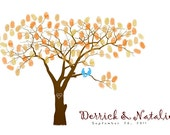 Fall Wedding Tree Guestbook, Autumn Guestbook Alternative With Guest's Fingerprints - 13x19 100% Cotton Art Paper-With 1 ink pads