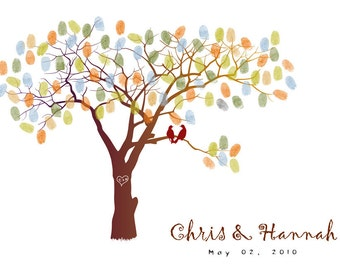 Wedding Guest Book Tree--  To Be Personalized With Guest's Fingerprints - 13x19-With 1 ink pads and instructions