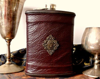Large Burgundy Leather Flask with Diamond