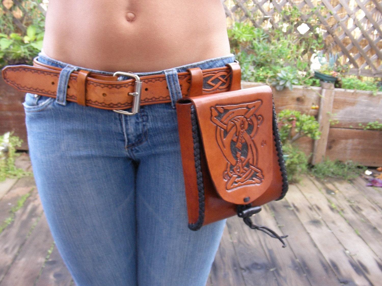 leather belt hip bag nordic norse hip purse nordic