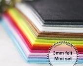 3mm felt Mini Set --thickness 3mm, 17 colors,17 sheets, 15cm x 15cm