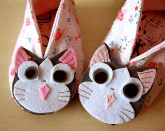 Easy sewing-DIY Indoor kitty shoes-PDF pattern(6 different size)-H02