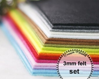 3mm felt  Set --thickness 3mm, 17 colors,17 sheets, 30cm x 30cm