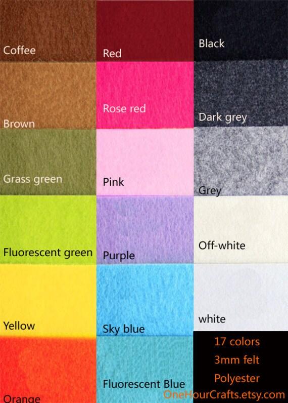 3mm Felt Set Thickness 3mm 17 Colors 17 Sheets 30cm X