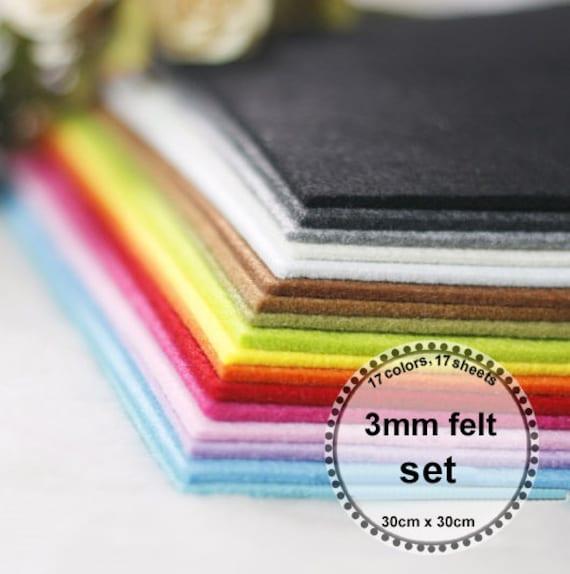 3mm felt  Set --thickness 3mm, 17 colors,17 sheets, 30cm x 30cm
