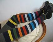 Long Striped Thigh High Boot Socks, Over the Knee Leg Warmers, Lightweight Cotton Knit