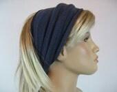 Wide Headband Hair WRAP Dread Wrap  Hair band Turban Blue