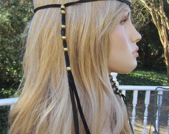 1 Black Leather BOHO Headband Hair Wrap with Antique Brass Gold Beads Z106L