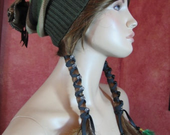 BOHO Hair Jewelry Extension Long Leather Wrap Ties Feathers and Glass Beads Ponytail Holder