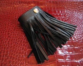 Leather Fringe Cuff  Bracelet, Black Leather Wristband,  Rocker Club Wear Wrist Band Jewelry