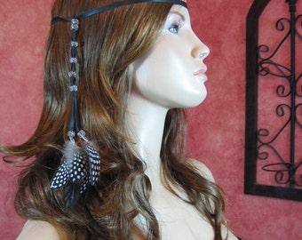 1 BOHO Feather Headband Hair Extension, Hippie Black Beaded Leather Wrap Ponytail Holder