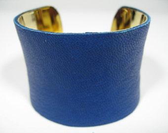 Royal China Blue Leather Cuff Bracelet , Wide 24K Gold Lined Wrist Band Bangle