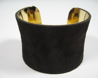 Chocolate Brown Suede Cuff Bracelet, Wide 24K Gold Lined Wrist Band