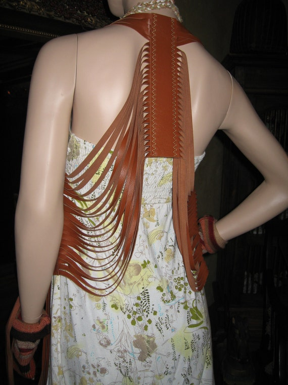BOHO Hippie Brown Leather Fringe Vest, Art to Wear