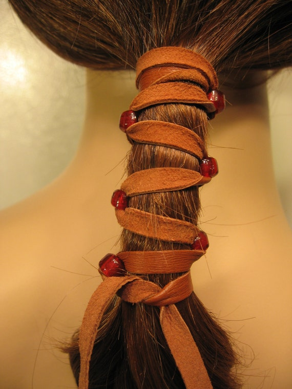 Pony Tail Holder Hair Wrap Brown Leather with RED Glass Beads