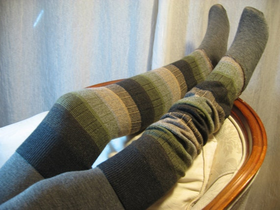 Thigh High Over the Knee Leg Warmers,  Footless Boot Socks Brown Olive Stripe  B658
