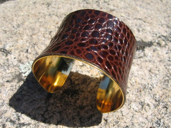 Croc Wrist Cuff, Wide Brown Leather Gold Lined Wrap Bracelet